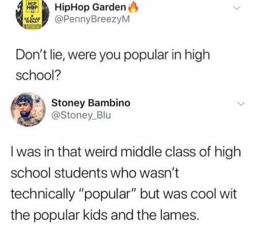"""School, Weird, and Cool: HipHop Garden  @PennyBreezyM  Don't lie, were you popular in high  school?  Stoney Bambino  @Stoney_Blu  I was in that weird middle class of high  school students who wasn't  technically """"popular"""" but was cool wit  the popular kids and the lames."""