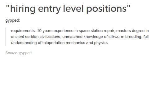Hiring Entry Level Positions Gypped Requirements 10 Years