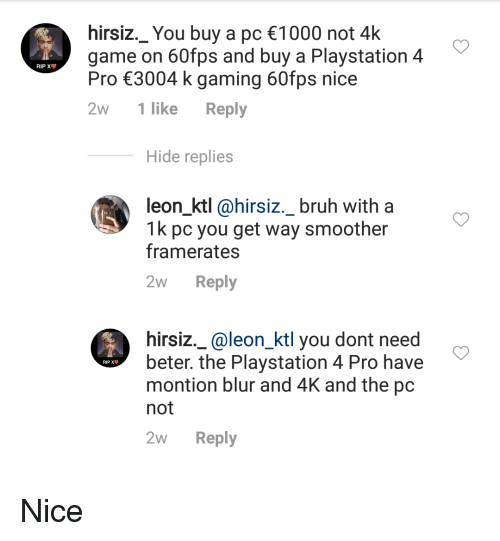 Hirsiz_ You Buy a Pc 1000 Not 4k Game on 60fps and Buy a Playstation