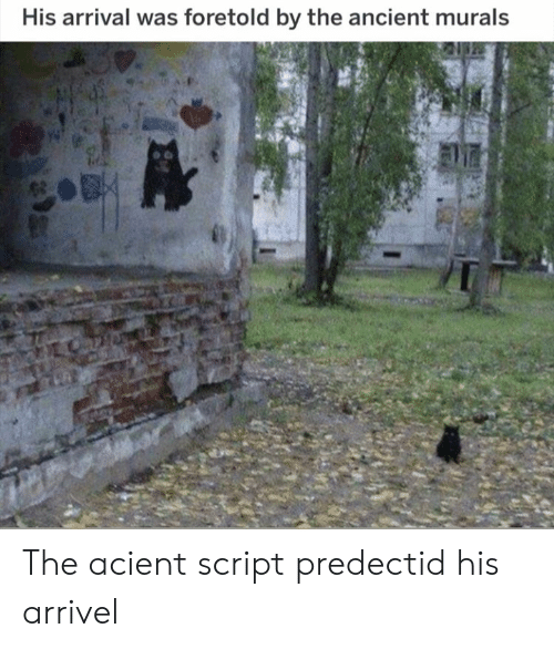 Ancient, Script, and Arrival: His arrival was foretold by the ancient murals The acient script predectid his arrivel