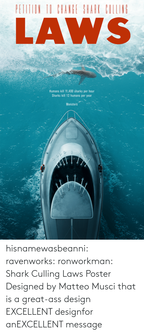 Tumblr, Shark, and Blog: hisnamewasbeanni: ravenworks:  ronworkman:  Shark Culling Laws Poster Designed byMatteo Musci    that is a great-ass design  EXCELLENT designfor anEXCELLENT message