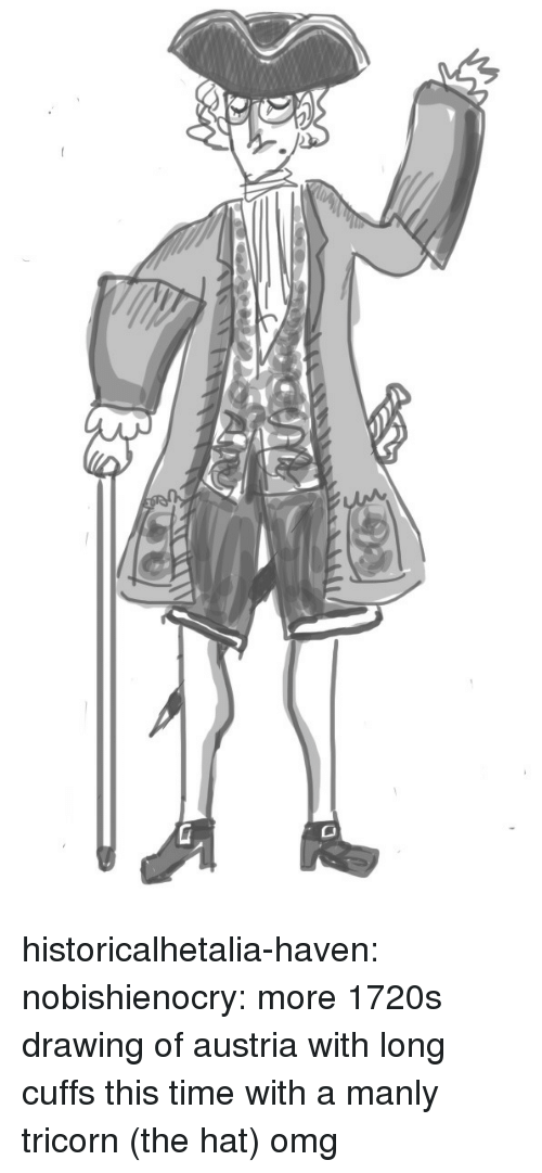 Omg, Target, and Tumblr: historicalhetalia-haven:  nobishienocry:  more 1720s drawing of austria with long cuffs this time with a manly tricorn (the hat)  omg
