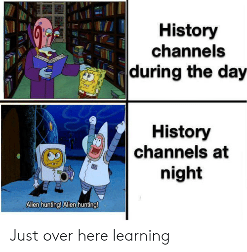 Hunting, History, and Day: History  channels  during the day  History  channels at  night  Allen hunting! Alen hunting! Just over here learning