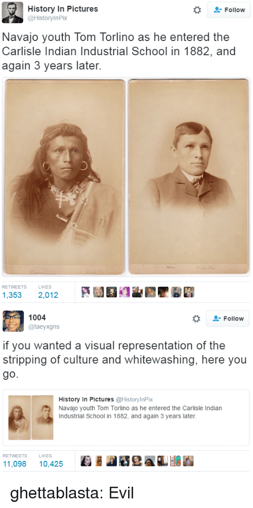 School, Tumblr, and Blog: History In Pictures  @HistoryInPix  Follow  Navajo youth Tom Torlino as he entered the  Carlisle Indian Industrial School in 1882, and  again 3 years later.  RETWEETS  LIKES  1,353 2,012   1004  @taeyxgns  Follow  if you wanted a visual representation of the  stripping of culture and whitewashing, here you  go.  History In Pictures @HistoryInPix  Navajo youth Tom Torlino as he entered the Carlisle Indian  Industrial School in 1882, and again 3 years later.  RETWEETS  LIKES  11,098 10,425 Ki HeAL ghettablasta:  Evil