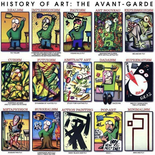 Fire, Pop, and Hunting: HISTORY OF ART: THE AVANT-GARDE  ART NOUVEAU EXPRESSIONISM  REALISM  IMPRESSIONISM  FAUVISM  FLY KILLER  HOMICIDE DES MOUCHES A LA GARE  DE SAINT MARIE-SUR-LA SEINE  UN-OIMANCHE-MATINDE-PRINTEMS  YOUNG KILLS FLY  ENCHANTING FLORAL  MTH JOYFUL UITTLE FLY  MEAND UY FLY  ABSTRACT ART  CUBISM  FUTURISM  SUPREMATISM  DADAISM  ra  Gazze  SEA  БЕЛА  PORTRAIT OF MAN  AND FLY CWATTER IN HAND  GAZZE-RA  DYNAMISM OF HUNTTED FLY  STUDY FOR HUNTING FLY  RED FLY INSINUATES  THE UTTLE MAN  SURREALISM ACTION PAINTING  METAPHYSICS  MINIMALISM  POP-ART  Hi H  NEVER  NOW YOU  MUST DIE!  DISQUIETING FLY  LANDSCAPE WITH FLY  AND A TABLE ON FIRE  MAN AND FLY  OKAY  SHINY BLACKAND FLY  KAMHOM