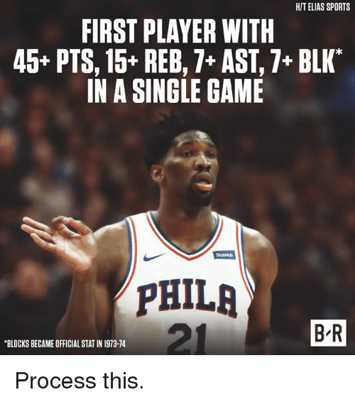 "Sports, Game, and Single: HIT ELIAS SPORTS  FIRST PLAYER WITH  45* PTS, 15+ REB,7+ AST,7+ BLK""  IN A SINGLE GAME  StubHub  PHILA  B R  BLOCKS BECAME OFFICIAL STAT IN 1973-74 Process this."