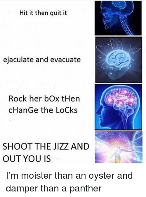 Dank, Jizz, and Change: Hit it then quit it  ejaculate and evacuate  Rock her bOx tHen  cHanGe the LoCks  SHOOT THE JIZZ AND  OUT YOU IS I'm moister than an oyster and damper than a panther