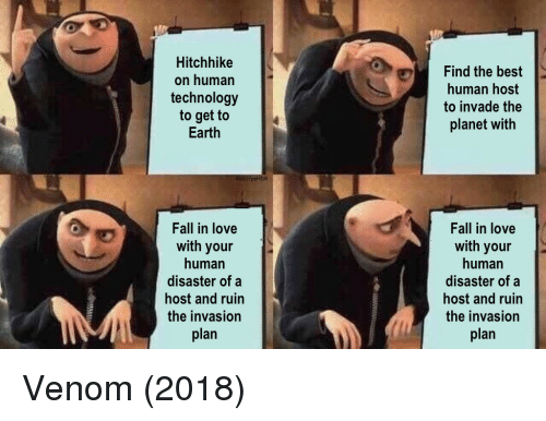Fall, Love, and Best: Hitchhike  on human  technology  to get to  Earth  Find the best  human host  to invade the  planet with  Fall in love  with your  human  disaster of a  host and ruin  the invasion  plan  Fall in love  with your  human  disaster of a  host and ruin  the invasion  plan Venom (2018)