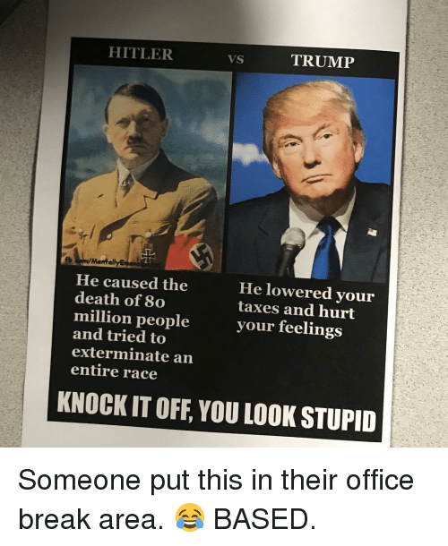 Memes, Taxes, and Break: HITLER  TRUMP  He caused the  death of 8o  million people  and tried to  exterminate an  entire race  He lowered your  taxes and hurt  your feelings  KNOCK IT OFF, YOU LOOK STUPID Someone put this in their office break area. 😂 BASED.