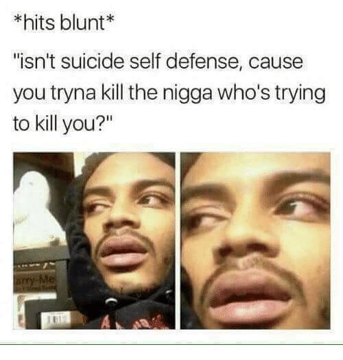 "Suicide, You, and Blunt: *hits blunt*  ""isn't suicide self defense, cause  you tryna kill the nigga who's trying  to kill you?"""