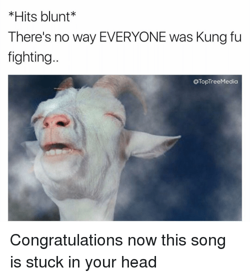 Memes, 🤖, and Kung Fu: *Hits blunt  There's no way EVERYONE was Kung fu  fighting  TopTreeMedia Congratulations now this song is stuck in your head