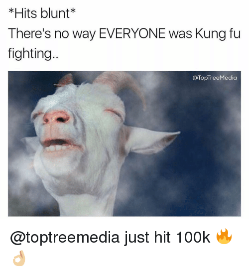 Memes, Tree, and 🤖: Hits blunt  There's no way EVERYONE was Kung fu  fighting  Top Tree Media @toptreemedia just hit 100k 🔥👌🏼