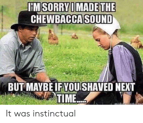 Chewbacca, Sorry, and Time: HM SORRY I MADE THE  CHEWBACCA SOUND  BUT MAYBE IF YOU SHAVED NEXT  TIME  maka It was instinctual