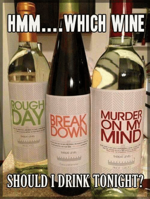 Memes, Wine, and Break: HMM....WHICH WINE  ROUGH  DAY BREAK MURDER  DOWN MIND  ON MY  SeEAT LEVE  beEATLEVEL  tHREAT LEVEL  HOT GACO  SHOULD I DRINK TONIGHT?