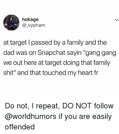 """Dad, Family, and Shit: hokage  @_vypham  at target l passed by a family and the  dad was on Snapchat sayin """"gang gang  we out here at target doing that family  shit"""" and that touched my heart fr Do not, I repeat, DO NOT follow @worldhumors if you are easily offended"""