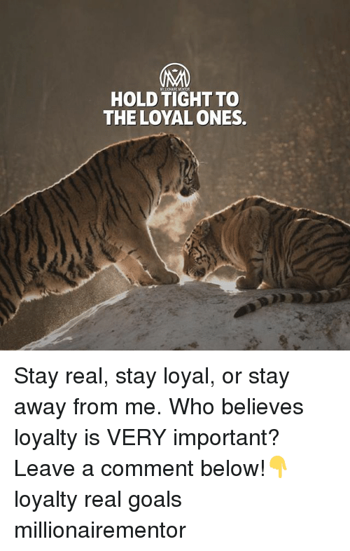 Goals, Memes, and 🤖: HOLD TIGHT TO  THE LOYAL ONES. Stay real, stay loyal, or stay away from me. Who believes loyalty is VERY important? Leave a comment below!👇 loyalty real goals millionairementor