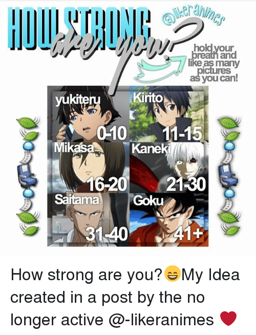 Goku, Memes, and Strong: hold your  many  you can!  Kirito  yukiteru  WE 010 11-15  Mikasa  Kaneki  16-20  21-30  Goku  A1+  31.40 How strong are you?😄My Idea created in a post by the no longer active @-likeranimes ❤