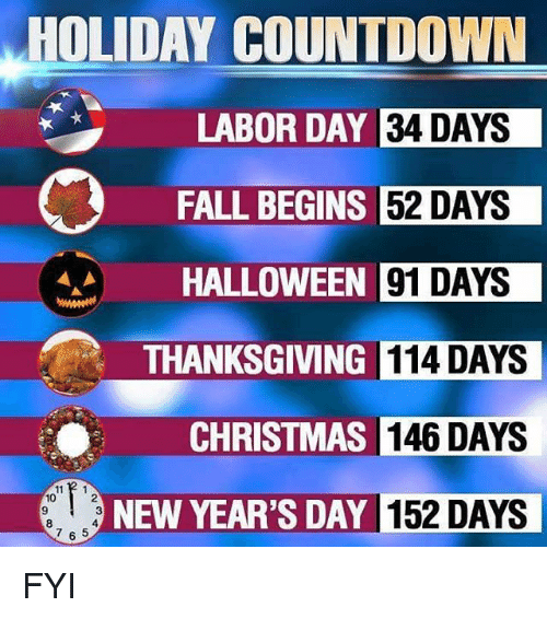 Halloween Thanksgiving Christmas Countdown.Holiday Countdown Labor Day 34 Days Fall Begins 52 Days