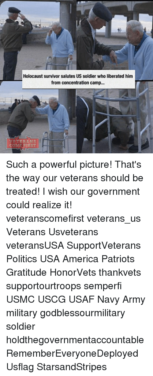 America, Memes, and Patriotic: Holocaust survivor salutes US soldier who liberated him  from concentration camp...  VETERANS  COME FIRST Such a powerful picture! That's the way our veterans should be treated! I wish our government could realize it! veteranscomefirst veterans_us Veterans Usveterans veteransUSA SupportVeterans Politics USA America Patriots Gratitude HonorVets thankvets supportourtroops semperfi USMC USCG USAF Navy Army military godblessourmilitary soldier holdthegovernmentaccountable RememberEveryoneDeployed Usflag StarsandStripes