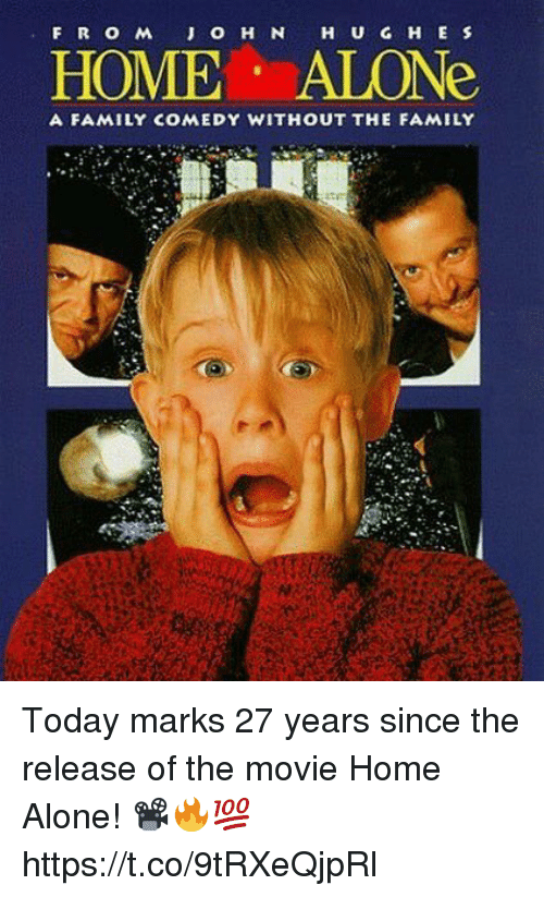 Being Alone, Family, and Home Alone: HOME ALONe  A FAMILY COMEDY WITHOUT THE FAMILY Today marks 27 years since the release of the movie Home Alone! 📽🔥💯 https://t.co/9tRXeQjpRl