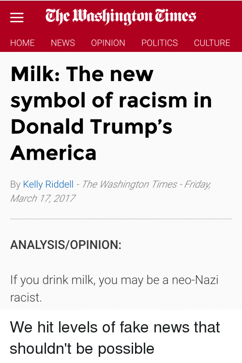 Home News Opinion Politics Culture Milk The New Symbol Of Racism In
