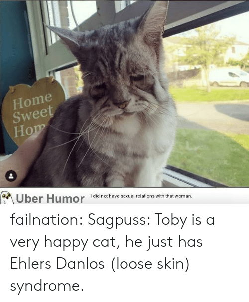 Tumblr, Uber, and Blog: Home  Sweet  Hom  Uber Humor  I did not have sexual relations with that woman. failnation:  Sagpuss: Toby is a very happy cat, he just has Ehlers Danlos (loose skin) syndrome.