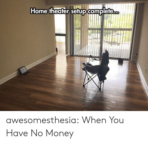 Money, Tumblr, and Blog: Home theafer seftupcomplete.m awesomesthesia:  When You Have No Money