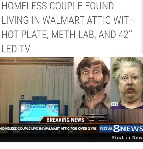 Homeless Couple Found Living In Walmart Attic With Hot
