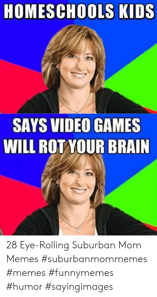 Memes, Video Games, and Brain: HOMESCHOOLS KIDS  SAYS VIDEO GAMES  WILL ROT YOUR BRAIN 28 Eye-Rolling Suburban Mom Memes #suburbanmommemes #memes #funnymemes #humor #sayingimages