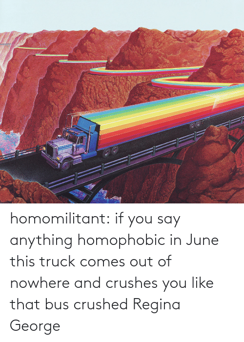 Target, Tumblr, and Blog: homomilitant: if you say anything homophobic in June this truck comes out of nowhere and crushes you like that bus crushed Regina George