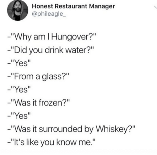 Honest Restaurant Manager Why Am I Hungover? Did You Drink Water