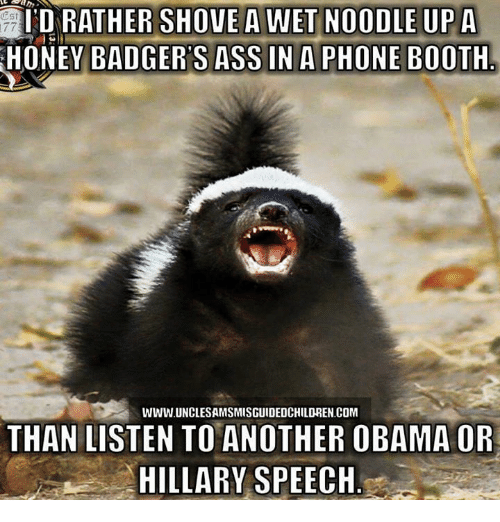 Memes, Obama, and Phone: HONEY BADGER SASS IN A PHONE BOOTH  WWW.UNCLESAMSMISGUIDEDCHILDREN.COM  THAN LISTEN TO ANOTHER OBAMA OR  HILLARY SPEECH