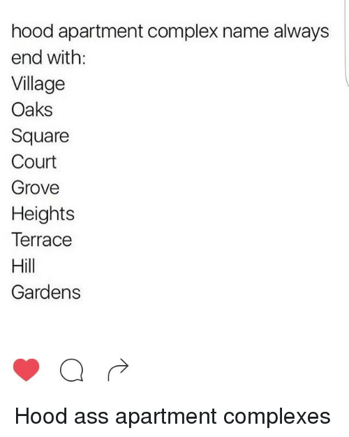 Ass Blackpeopletwitter And Complex Hood Apartment Name Always End With Village Oaks