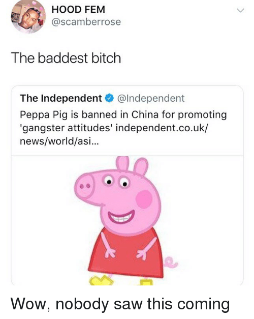 Hood Fem The Baddest Bitch The Independent Independent Peppa Pig Is