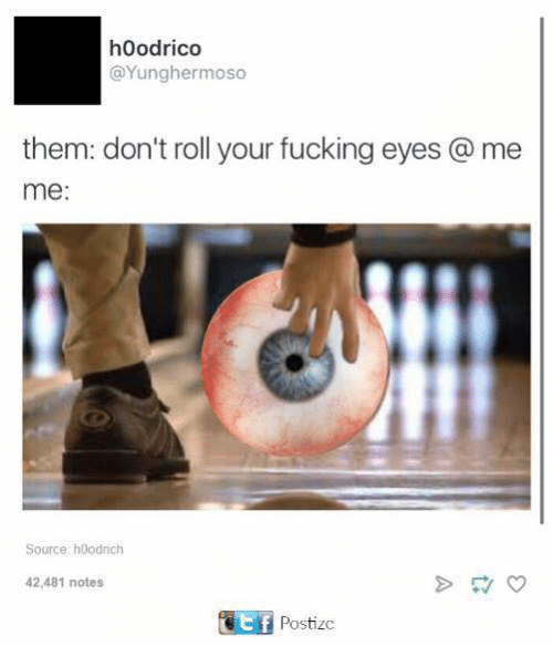 Fucking, Dank Memes, and Source: hoodrico  @Yunghermoso  them: don't roll your fucking eyes me  me  Source: hoodrich  42,481 notes  Postizc