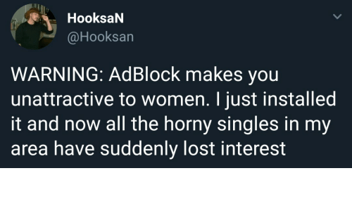 Horny, Lost, and Women: HooksaN  @Hooksan  WARNING: AdBlock makes you  unattractive to women. I just installed  it and now all the horny singles in my  area have suddenly lost interest