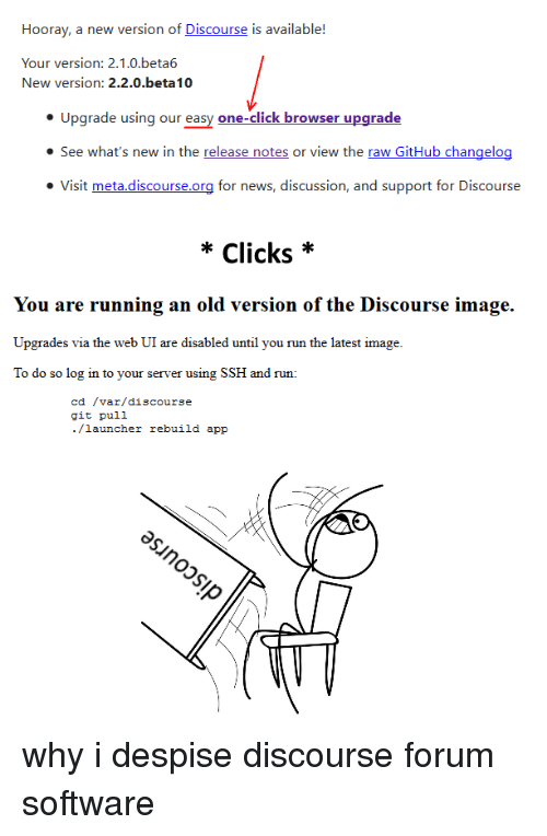 Hooray a New Version of Discourse Is Available! Your Version