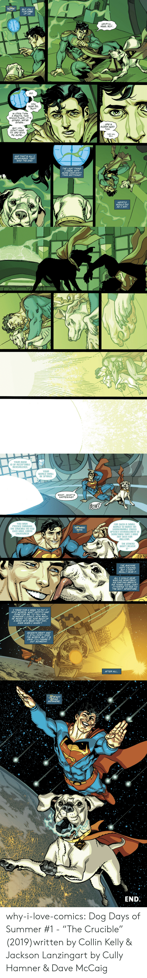 """Alive, Love, and Run: HOPE  BUT ONLY  FOR ONE  OF US  KRYPTO...  HERE, BOY...  GO.  YOu  HEAR ME,  BOY?  IN LESS THAN  A MINUTE, THIS  WHOLE PLACE..IT'S  GONNA... WE'RE  GONNA...  ...SHE'S  GONNA NEED  YOu  BUT YOu  DON'T HAVE  TO. AND WITH  ME GONE..  THEY ALL  WILL  AND THAT'S ALL I  REMEMBER. THAT  WAS THE END  THE LAST THING  I KNEW, WITH  MORE CERTAINTY  THAN ANYTHING?  KRYPTO  WOULD DO  AS I SAY   YOUR BOND  IS Of ACCEPTABLE  BENEVOLENCE.  YOUR  WORLD SHALL  BE SPARED.  WHAT...WHAT'S  HAPPENING?  BOW?  YOU HAVE  PASSED THROUGH  THE CRUCIBLE AS FEW  EVER HAUE, EARTH  CREATURES!  fOR SUCH A SMALL  WORLD TO BOAST AN  UNBREAKABLE CROSS  SPECIES ENTANGLEMENT IS  SOMETHING THAT I HAVE  nOT SEEN FOR  MILLENIA.  WE WERE  ALIVE  THE OTHERS  Won'T BELIEVE  IT-  THE MACHINE  KEPT TALKING  BUT I DIDN'T  REALLY HEAR IT  ALL I COULD HEAR  WAS HIS HEARTBEAT  HIS PANTING BREATH.  HIS TENSE LEGS, JUST  JITTERING TO RUN TO  THE NEXT ADVENTURE  I TRIED FORA WEEK TO PUT IT  INTO WORDS, WHAT KRYPTO HAD  DONE FOR ME. TO TELL HIM,  HOWEVER I COULD, HOW MUCH  HE MEANT TO ME, HOW MUCH OF  A HERO HE'D BEEN THAT DAY,  EVEN WHEN I WASN'T  SEVENTH DRAFT AND  I STILL DON'T HAVE  THE WORDS. BUT IT'S  OKAY. I'LL FIGURE IT  OUT SOMEDAY  25CERN  AFTER ALL...   .HE'S NOT  GOING  ANYWHERE  y  END why-i-love-comics:  Dog Days of Summer #1 -""""The Crucible"""" (2019)written by Collin Kelly & Jackson Lanzingart by Cully Hamner & Dave McCaig"""