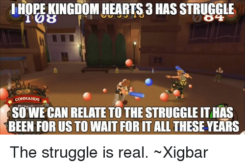 Memes, Struggle, and The Struggle Is Real: HOPE KINGDOM HEARTS 3 HASSTRUGGLE  COMMANDS A  SO WE CAN RELATE TO THE STRUGGLE ITHAS  BEEN FORUS TO WAIT FORITALL THESE YEARS The struggle is real. ~Xigbar
