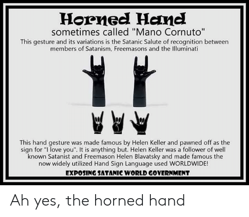 Horned Hanel Sometimes Called Mano Cornuto This Gesture and Its