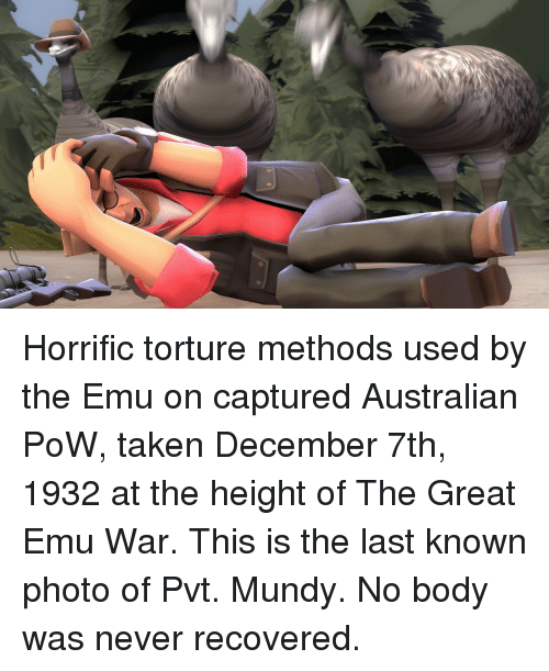 Taken, Never, and Australian: Horrific torture methods used by the Emu on captured Australian PoW, taken December 7th, 1932 at the height of The Great Emu War. This is the last known photo of Pvt. Mundy. No body was never recovered.