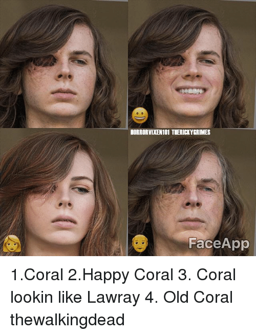 horrorvixen101 terickygrimes face app 1coral 2happy coral 3 coral