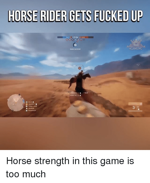 Memes, Too Much, and Game: HORSE RIDER GETS FUCKED UP  567 17134  566 Horse strength in this game is too much