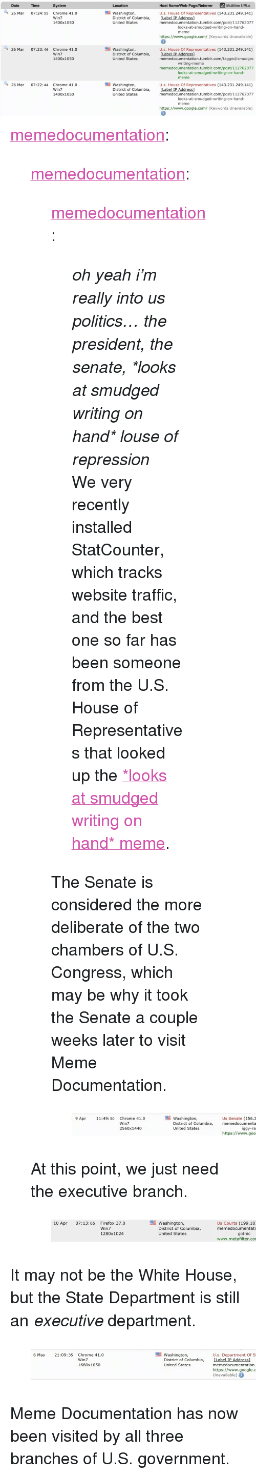 """Chrome, Google, and Meme: Host Name/Web Page/Referrer Multilie URLs  Date  Time  System  Location  U.s. House Of Representatives (143.231.249.141)  [Label IP Address]  memedocumentation.tumblr.com/post/112762077  26 Mar 07:24:55 Chrome 41.0  Win7  1400x1050  Washington,  District of Columbia,  United States  looks-at-smudged-writing-on-hand-  meme  https://www.google.com/ (Keywords Unavailable)  26 Mar 07:23:46 Chrome 41.0  Win7  1400x1050  Washington,  District of Columbia,  United States  U.s. House Of Representatives (143.231.249.141)  [Label IP Address]  memedocumentation.tumblr.com/tagged/smudgec  writing-meme  memedocumentation.tumblr.com/post/112762077  looks-at-smudged-writing-on-hand-  meme  Washington,  District of Columbia,  United States  26 Mar 07:22:44 Chrome 41.0  Win7  1400x1050  U.s. House Of Representatives (143.231.249.141)  [Label IP Address]  memedocumentation.tumblr.com/post/112762077  looks-at-smudged-writing-on-hand  meme  https://www.google.com/ (Keywords Unavailable) <p><a class=""""tumblr_blog"""" href=""""http://memedocumentation.tumblr.com/post/116050445370/memedocumentation-memedocumentation-oh-yeah"""">memedocumentation</a>:</p>  <blockquote><p><a class=""""tumblr_blog"""" href=""""http://memedocumentation.tumblr.com/post/115993996035/memedocumentation-oh-yeah-im-really-into-us"""">memedocumentation</a>:</p>  <blockquote><p><a class=""""tumblr_blog"""" href=""""http://memedocumentation.tumblr.com/post/114734210760/oh-yeah-im-really-into-us-politics-the"""">memedocumentation</a>:</p>  <blockquote><p><i>oh yeah i'm really into us politics… the president, the senate, *looks at smudged writing on hand* louse of repression</i></p><p>We very recently installed StatCounter, which tracks website traffic, and the best one so far has been someone from the U.S. House of Representatives that looked up the <a href=""""http://memedocumentation.tumblr.com/post/112762077645/explained-looks-at-smudged-writing-on-hand-meme"""">*looks at smudged writing on hand* meme</a>.<br/></p></blockquote><p"""