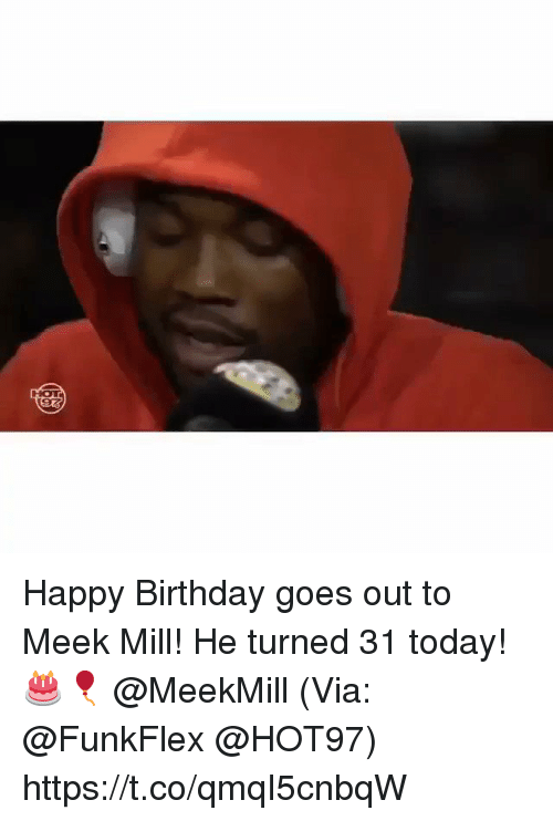 Birthday, Meek Mill, and Happy Birthday: HOT Happy Birthday goes out to Meek Mill! He turned 31 today! 🎂🎈 @MeekMill (Via: @FunkFlex @HOT97) https://t.co/qmqI5cnbqW