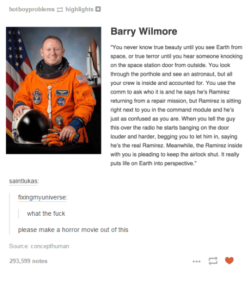 """Beautiful, Confused, and Dank: hotboy problems  highlights  Barry Wilmore  """"You never know true beauty until u see Earth from  you space, or true terror until you hear someone knocking  on the space station door from outside. You look  through the porthole and see an astronaut, but all  your crew is inside and accounted for. You use the  comm to ask who it is and he says he's Ramirez  returning from a repair mission, but Ramirez is sitting  right next to you in the command module and he's  just as confused as you are. When you tell the guy  this over the radio he starts banging on the door  louder and harder, begging you to let him in, saying  he's the real Ramirez. Meanwhile, the Ramirez inside  with you is pleading to keep the airlock shut. It really  puts life on Earth into perspective.""""  saintlukas  fixingmyuniverse  what the fuck  please make a horror movie out of this  Source: concepthuman  293,599 notes"""