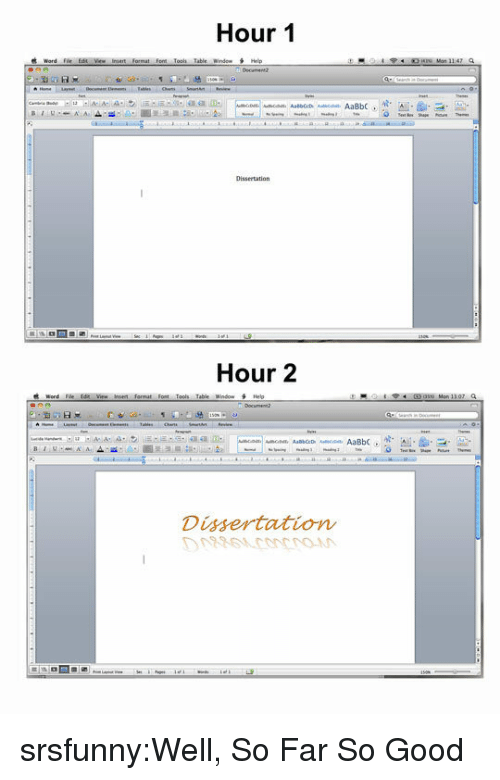 Tumblr, Blog, and Good: Hour 1  Word Fil, Edit Vie- iniert format font Toon table wnde- H  Hour 2  Table Window  Helo  Dissertation srsfunny:Well, So Far So Good