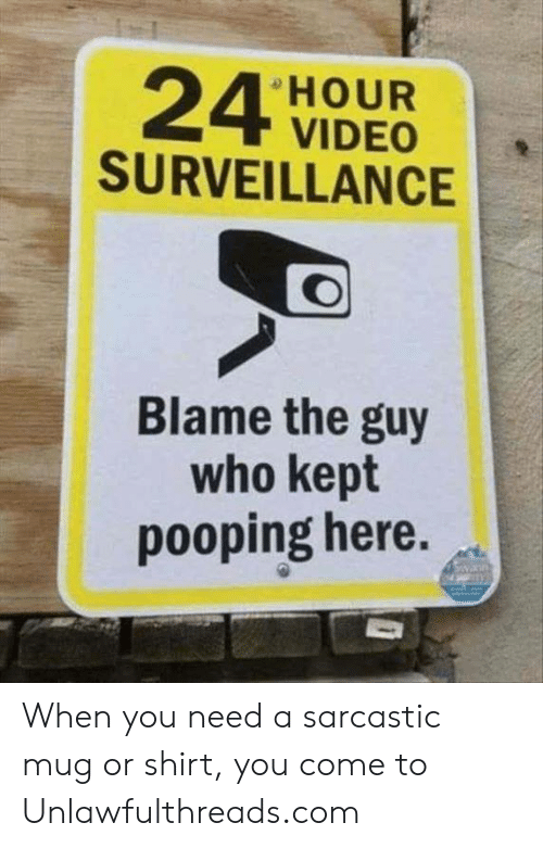 Memes, Video, and 🤖: HOUR  VIDEO  SURVEILLANCE  Blame the guy  who kept  pooping here. When you need a sarcastic mug or shirt, you come to Unlawfulthreads.com