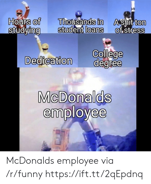 College, Funny, and Shit: Hours of  StudyingStudent  Thousands in  loans  A shit ton  of stress  0  0  0  0  0  College  Dedication degree  MicDonalds  employee McDonalds employee via /r/funny https://ift.tt/2qEpdnq