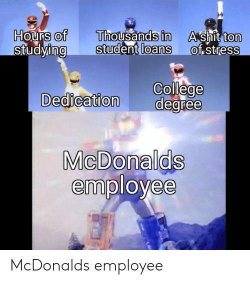 College, Shit, and Loans: Hours of  StudyingStudent  Thousands in  loans  A shit ton  of stress  0  0  0  0  0  College  Dedication degree  MicDonalds  employee McDonalds employee